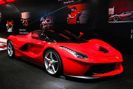 Abu Dhabi, UAE - November 17, 2018: Red supercar Ferrari LaFerrari in the theme park Ferrari World. Sajtókép