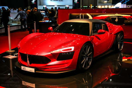 Geneva, Switzerland - March 11, 2019: Red sports car Mole Almas presented at the annual Geneva International Motor Show 2019.