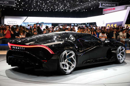 Geneva, Switzerland - March 10, 2019: The most expensive luxury car in the world Bugatti La Voiture Noire presented at the annual Geneva International Motor Show 2019. Editorial
