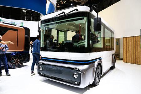 Geneva, Switzerland - March 10, 2019: Autonomous electric minibus e.GO Mover presented at the annual Geneva International Motor Show 2019.