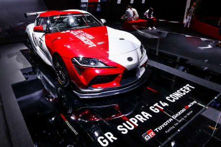 Geneva, Switzerland - March 10, 2019: Concept race car Toyota Supra GT4 presented at the annual Geneva International Motor Show 2019. Editorial