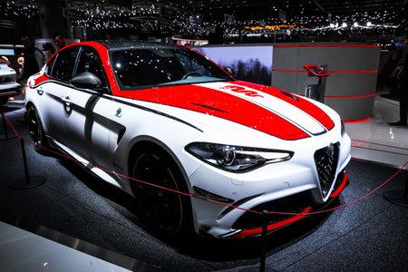Geneva, Switzerland - March 10, 2019: Race car Alfa Romeo Giulia Quadrifoglio Racing Edition presented at the annual Geneva International Motor Show 2019.