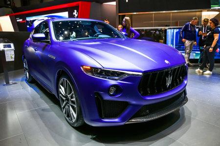 Geneva, Switzerland - March 10, 2019: Supercar Maserati Levante Trofeo presented at the annual Geneva International Motor Show 2019.