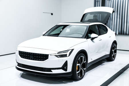 Geneva, Switzerland - March 10, 2019: Electric hatchback Polestar 2 presented at the annual Geneva International Motor Show 2019. Editorial
