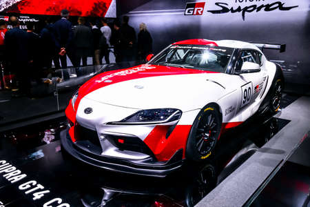 Geneva, Switzerland - March 11, 2019: Concept race car Toyota Supra GT4 presented at the annual Geneva International Motor Show 2019.