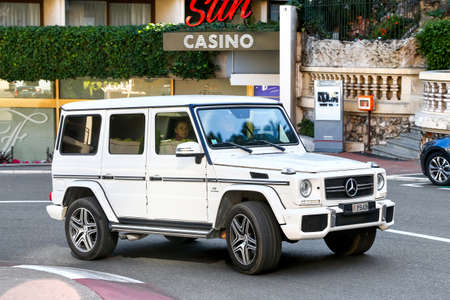 Monte-Carlo, Monaco - March 12, 2019: Luxury off-road car Mercedes-Benz W463 G63 AMG in the city street.