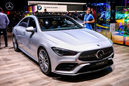 Geneva, Switzerland - March 11, 2019:  Motor car Mercedes-Benz C118 CLA180d presented at the annual Geneva International Motor Show 2019.