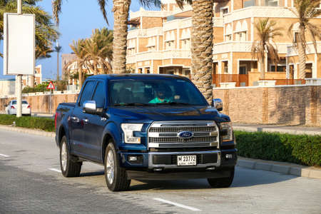 Dubai, UAE - November 18, 2018: Pickup truck Ford F-150 in the city street.