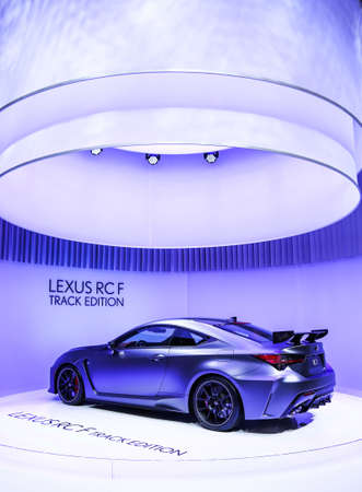Geneva, Switzerland - March 10, 2019: Sportscar Lexus RC F Track Edition presented at the annual Geneva International Motor Show 2019.