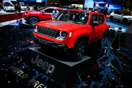Geneva, Switzerland - March 10, 2019: Hybrid crossover Jeep Renegade presented at the annual Geneva International Motor Show 2019.