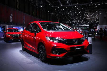 Geneva, Switzerland - March 10, 2019: Urban hatchback Honda Jazz presented at the annual Geneva International Motor Show 2019.