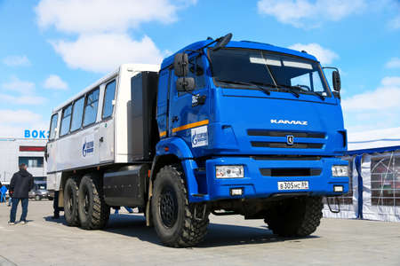 Novyy Urengoy, Russia - May 9, 2019: Offroad bus NEFAZ 4208 (KAMAZ 43114) with CNG fuel engine in the city street.