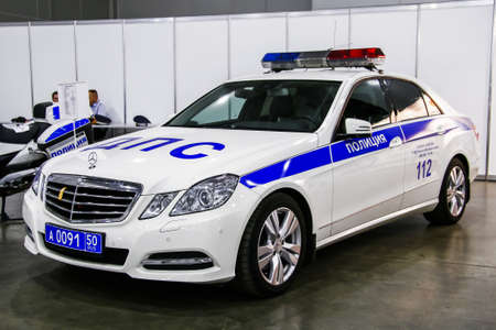 Moscow, Russia - September 2, 2016: Russian road traffic police car Mercedes-Benz W212 E350 presented at the annual Moscow International Motor Show MIMS-2016.