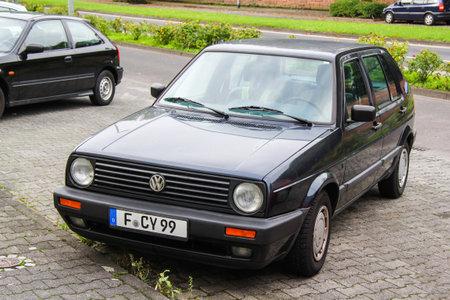 Frankfurt am Main, Germany - September 15, 2013: Motor car Volkswagen Golf in the city street.
