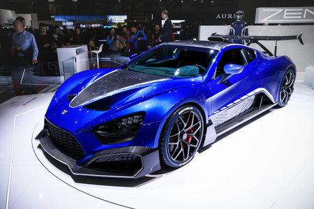 Geneva, Switzerland - March 10, 2019: Sports coupe Zenvo TSR-S presented at the annual Geneva International Motor Show 2019. Editorial