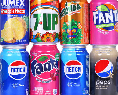 Novyy Urengoy, Russia - August 30, 2019: Bunch of many different soda cans. Editorial