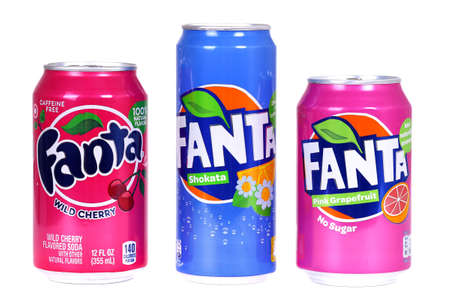 Novyy Urengoy, Russia - August 30, 2019: Aluminium cans of Fanta of different markets isolated over white background.