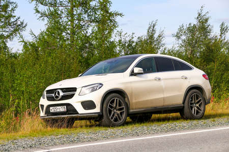 Yamal, Russia - August 11, 2019: Luxury crossover Mercedes-Benz GLE-class (C292) at the countryside. Sajtókép