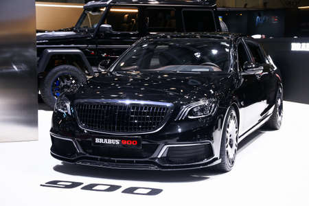 Geneva, Switzerland - March 11, 2019: Luxury supercar Mercedes-Benz Maybach W222 S65 AMG Brabus 900 presented at the annual Geneva International Motor Show 2019.