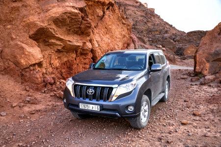 Errachidia, Morocco - September 26, 2019: Offroad car Toyota Land Cruiser Prado 150 at the countryside.