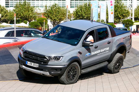 Frankfurt am Main, Germany - September 18, 2019: Pickup truck Ford Ranger Raptor at the Frankfurt Motor Show IAA 2019 (Internationale Automobil Ausstellung). Editorial