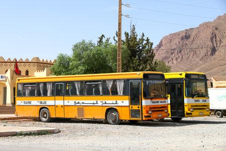 Khenifra Province, Morocco - September 27, 2019: Old school buses Renault Tracer in the town street. Sajtókép