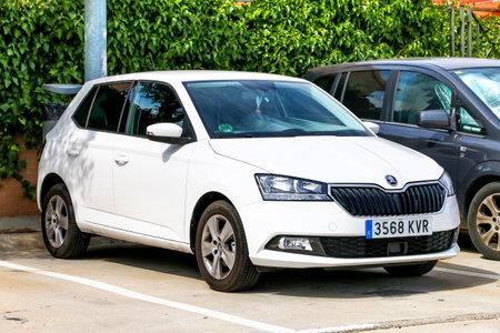 Torija, Spain - September 9, 2019: White hatchback Skoda Fabia in the town street. Editorial