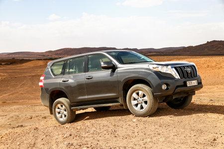 Merzouga, Morocco - September 26, 2019: Offroad car Toyota Land Cruiser Prado 150 in the Sahara desert. Editorial