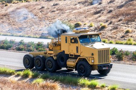 Settat Province, Morocco - September 23, 2019: Army tank transporter tractor unit Oshkosh M1070 at the interurban road.