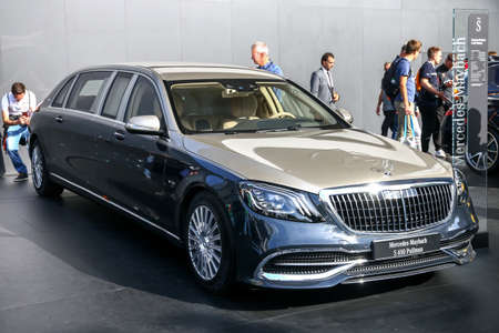 Frankfurt am Main, Germany - September 17, 2019: Luxury car Mercedes-Maybach S650 Pullman (W222) presented at the Frankfurt International Motor Show IAA 2019 (Internationale Automobil Ausstellung).