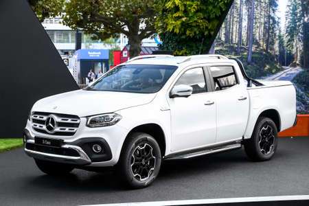 Frankfurt am Main, Germany - September 18, 2019: White pickup truck Mercedes-Benz X-class (BR470) presented at the Frankfurt International Motor Show IAA 2019 (Internationale Automobil Ausstellung). Editorial