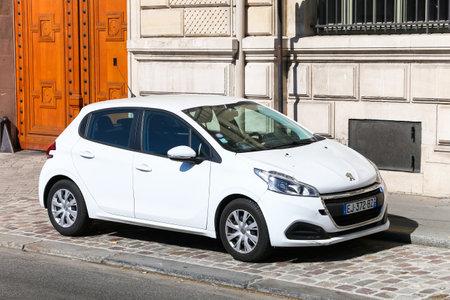 Paris, France - September 15, 2019: Motor car Peugeot 208 in the city street.