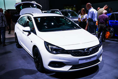 Frankfurt am Main, Germany - September 17, 2019: White estate car Opel Astra presented at the Frankfurt International Motor Show IAA 2019 (Internationale Automobil Ausstellung).