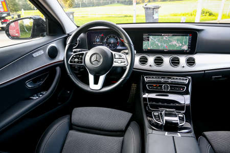 Miesbach, Germany - September 20, 2019: Interior of the luxury saloon car Mercedes-Benz E220d (W213).