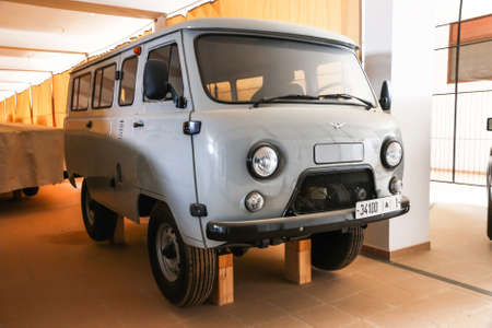 Merzouga, Morocco - September 25, 2019: Russian offroad van UAZ 2206 in the Morocco National 4x4 Auto Museum.