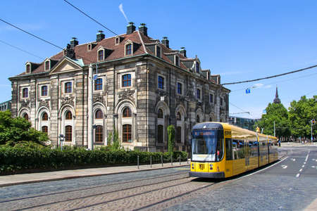 Dresden, Germany - July 20, 2014: Articulated tramway Bombardier NGT D8 DD in the city street. Editöryel