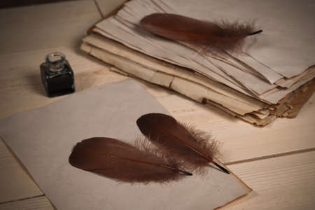 Brown goose feathers, ink bottle and empty old papers laying on the wooden desk Stok Fotoğraf