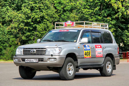 Moscow, Russia - July 7, 2012: Assistance car Toyota Land Cruiser 100 takes part in the annual rally Silk Way 2012. Editorial