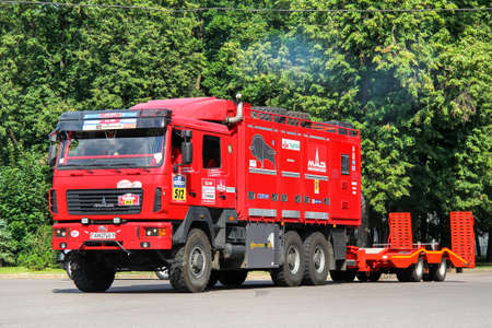 Moscow, Russia - July 7, 2012: Assistance truck MAZ-630208 No.512 takes part in the annual rally Silk Way 2012. Editorial