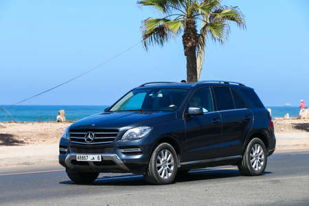 Casablanca, Morocco - September 29, 2019: Black luxury crossover Mercedes-Benz M-class (W166) in the city street.