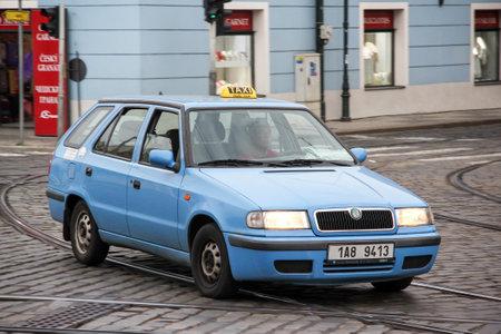 Prague, Czech Republic - July 21, 2014: Taxi car Skoda Felicia in the city street.