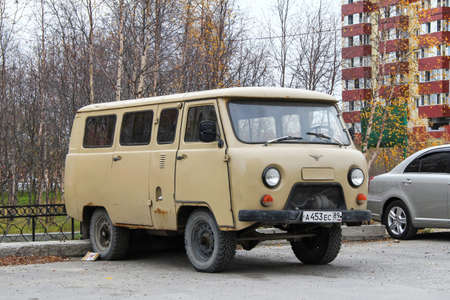 Novyy Urengoy, Russia - September 22, 2012: Old 4x4 van UAZ 2206 in the city street.