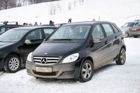 Asha, Russia - February 1, 2009: Motor car Mercedes-Benz W245 B-class at the countryside.