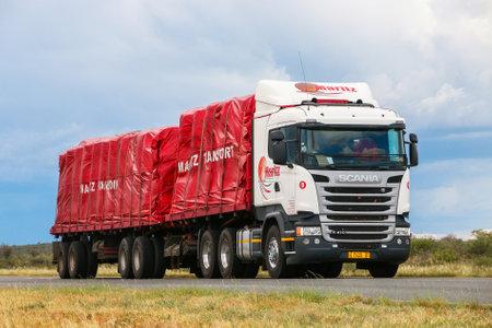 Omaheke, Namibia - February 11, 2020: Semi-trailer truck Scania R410 at the interurban road.