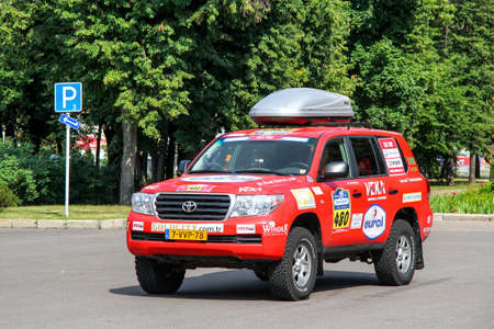 Moscow, Russia - July 7, 2012: Assistance car Toyota Land Cruiser 200 takes part in the annual rally Silk Way 2012.