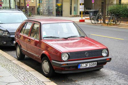 Berlin, Germany - September 12, 2013: Motor car Volkswagen Golf in the city street.