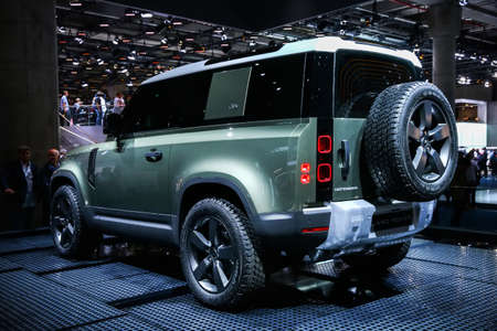 Frankfurt am Main, Germany - September 17, 2019: World premiere of the new generation of the Land Rover Defender at the Frankfurt Motor Show IAA 2019 (Internationale Automobil Ausstellung).