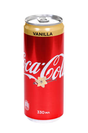 Novyy Urengoy, Russia - March 29, 2020: Aluminium can of the Coca-Cola Vanilla isolated over white background.