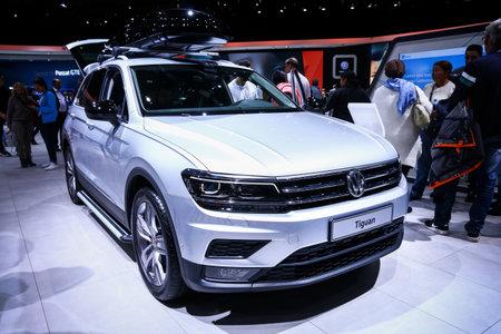 Geneva, Switzerland - March 10, 2019: White crossover Volkswagen Tiguan presented at the annual Geneva International Motor Show (GIMS).