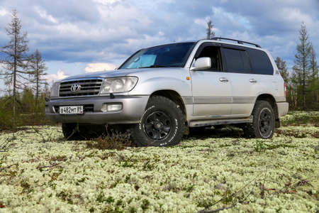 Novyy Urengoy, Russia - May 22, 2020: Grey offroad car Toyota Land Cruiser 100 in the northern tundra.